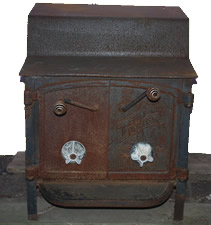 Fisher Grandma Bear wood burning stove front - for sale