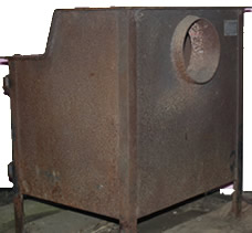 Fisher Grandma Bear wood burning stove side and back view - for sale
