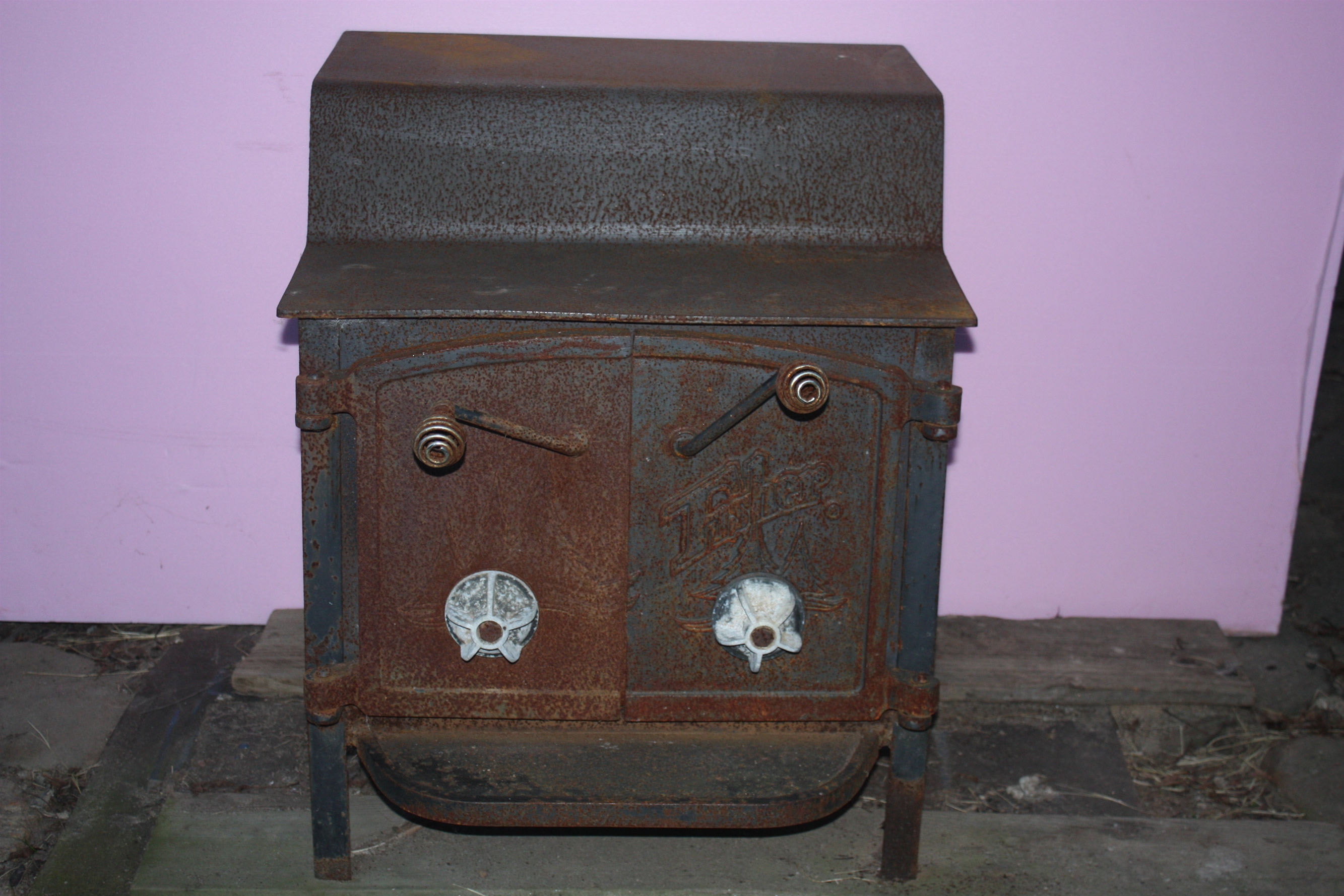 front of Firsher Grandma Bear wood burning stove