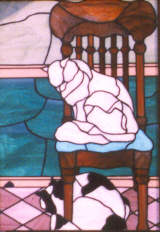 stained glass panel of cats