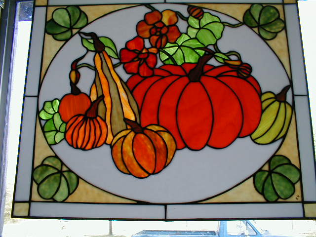 stained glass panel of fall harvest