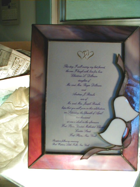 stained glass picture frame wedding bells
