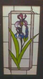 stained glass panel iris flower