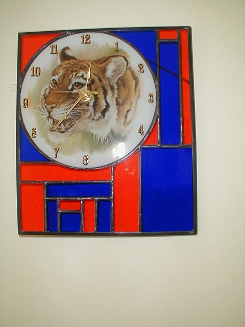 stained glass AU color tiger clock