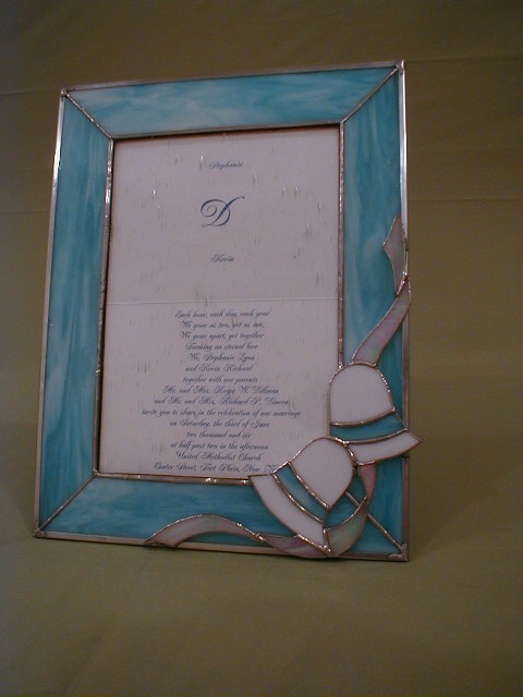 stained glass wedding bells picture frame