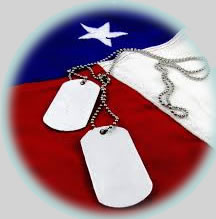 military dog tags and American flag